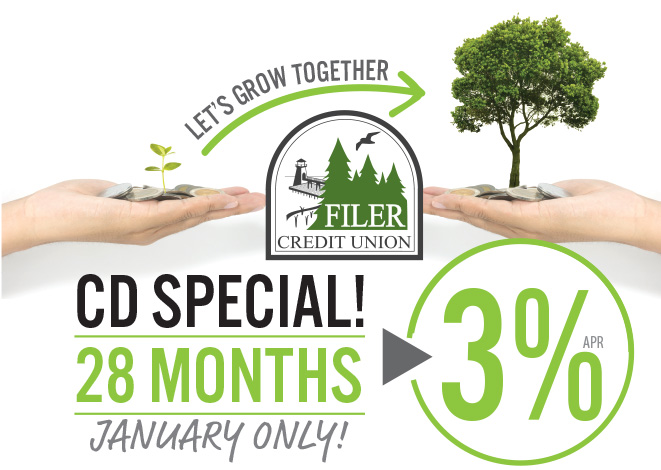 Image with growing tree and text that reads: CD Special - 28 months, 3% apr, January only